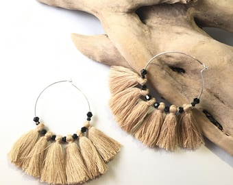 Elegant hoops & Beige tassels! Large earrings, tassel pom pom pom pom earrings blue fancy Bohemian style
