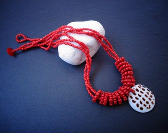 Vintage African beaded necklace   ethnic beaded necklace   vintage seed beads   shell pendant   red beads necklace   ethnic necklace   boho