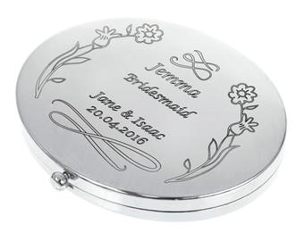 Personalised Engraved Oval Compact Mirror - Flower Design