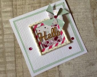 Handmade shaker card with mini pinwheel.