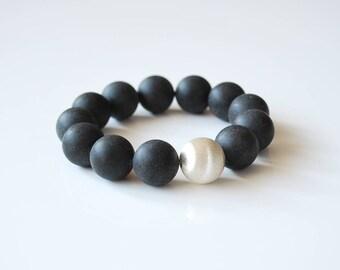 Black amber and sterling silver bracelet Genuine Baltic amber mat beaded bracelet Amber gift for her 15,8 mm amber beads