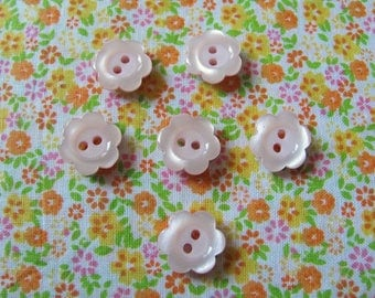Set of 6 buttons pink tender flowers 15 mm