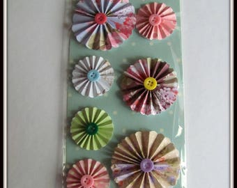 7 Stickers 3D flowers Accordion with buttons