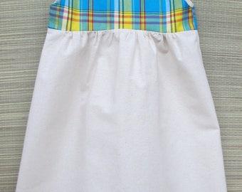 Girl in 6 madras summer tunic dress