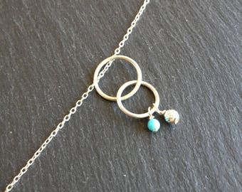 Necklace end circles turquoise gemstone
