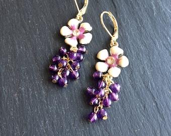 Purple and grape Amethyst flower and nude enamel earrings