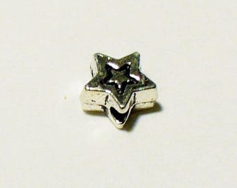 20 beads 5mm MA316 silver stars