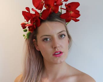 Deep Red Orchid Flower Crown Headdress Festival Headpiece Fascinator