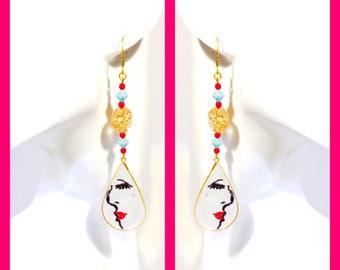 Resin German Czech beads chandelier dangle red gold earrings woman (females)