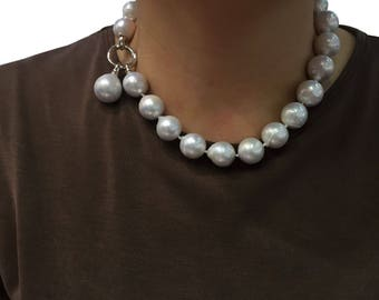 Big Natural Baroque Pearl Necklace /Plump pearls