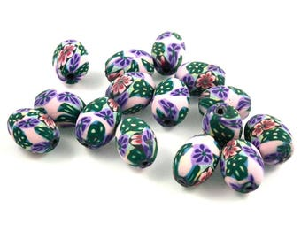 X 10 beads fimo flowers 14mm oval