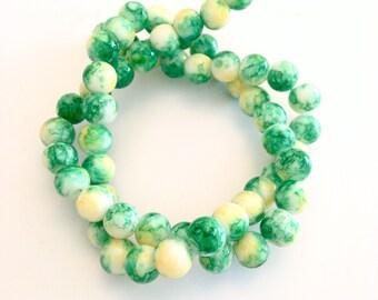 ♥ X 56 PCS PEARL GLASS 8MM GREEN SPOT YELLOW ♥