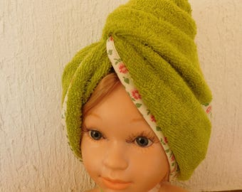 Towel turban hair after showering adults and children.