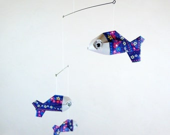 Mobile origami 3 baby blue fish colorful floral patterns for home decor