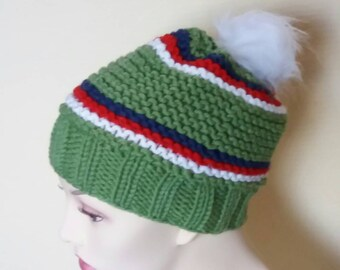 Cap Greeny Knitted Green White bobble