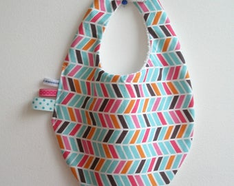 "White Terry back and ""chevron"" bandana bib"