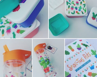 Ultimate cactus lunch box set with drinks bottle. Meal prep. Snack pots, sports bottle, picnic set, cactus gift