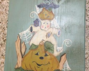 Halloween Plaque Pumpkin, Spider, Bat and Ghost