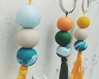 Clay Tassel Keychain | Marble Bead | Granite Bead