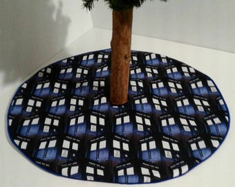 "Dr Who Tardis  police box – 21""  tree skirt custom made"
