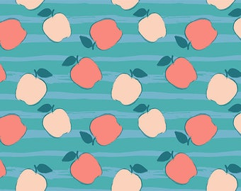 SEMI-rigid PLACEMAT, ORIGINAL design, WASHABLE and durable - Fruits, apples on a blue background. Classic version.