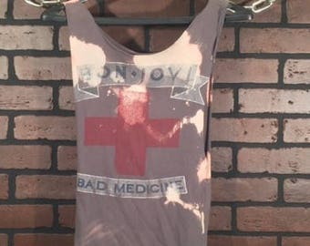 Bon Jovi-X Small-Distressed Vintage Band Tee-Vintage Concert Shirt- Rock Style-Punk Style-Music-Band Shirt-Concert Tank-Grunge-Bleached