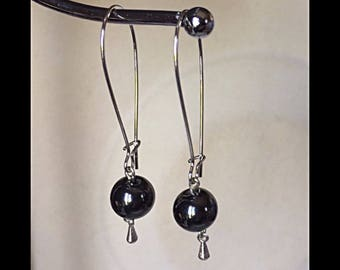 Earrings and hematite beads.