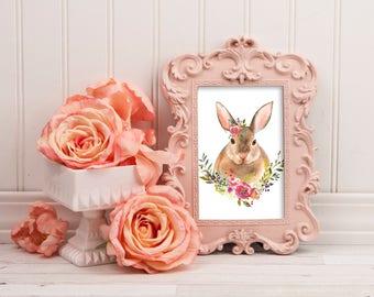 Woodland Watercolor Nursery Print~Woodland Animal Bunny DIY Printable~Woodland Girl Nursery Decor~Boho Nursery Art-Boho Watercolor