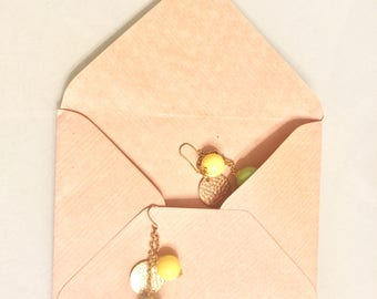 Dangle Yellow and Green Balls chained with Copper Disc Earrings