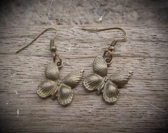 """Earrings """"butterfly"""" - bronze colored metal"""