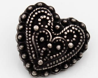 black heart button with some silver, 28mm (6 pieces)