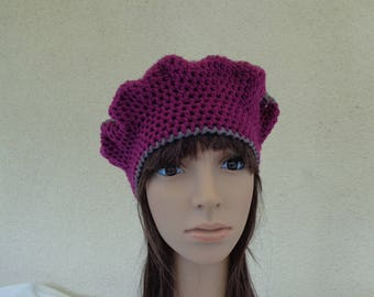 Hat BERET handmade fuchsia and pink mottled Brown