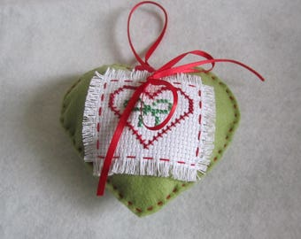Heart felt embroidered decor