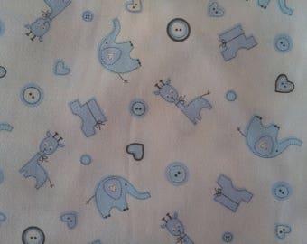 White cotton sky blue - small animal motifs