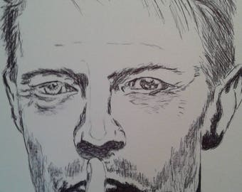 David Bowie portrait in black ink