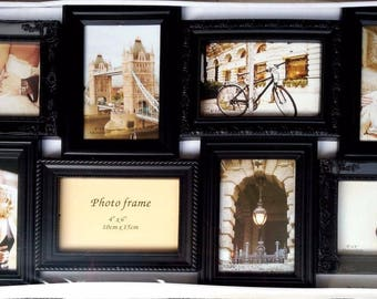 Photo Frame - Vintage Style 8 Photos Frames - Home Art Decor Wall Mount Light-Weight - Black Color