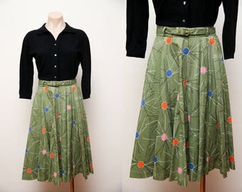 Vintage 1950s Skirt Green Atomic Novelty Print Cotton Circle Skirt