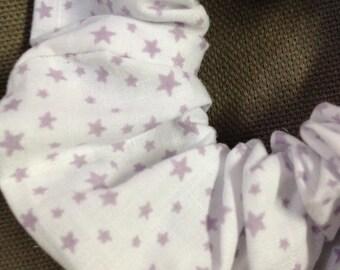 White stars scrunchie violets