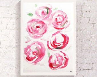Roses Original Watercolor painting Abstract art Roses Wall art print Abstract print Roses home decor Roses painting Flower watercolor print