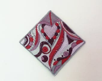 Silk hand embroidered square brooch