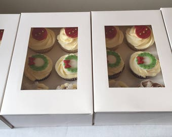 Box of 6 decorated cupcakes