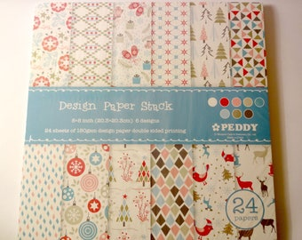 Graphic block of 24 sheets of paper patterns - 20x20cm - winter - scrapbooking