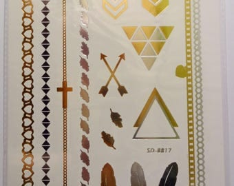 Board temporary tattoos - feathers and forms graphics - leather decorations - jewelry