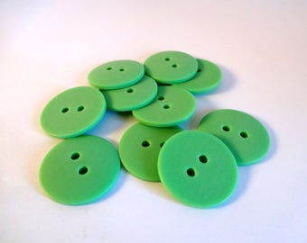 10 green buttons clear matte acrylic - scrapbooking - embellishment - sewing