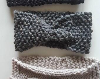 Earmuffs knit wool and acrylic.