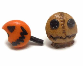 Trick 'r Treat : Sam and lollipop Stud Post Earrings - Horror Movie characters - Horror Movie earrings - Scary movie fans - Trick or treat -