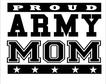 """Vinyl Service Decals """"Proud Mom"""" Marine, Army, Navy, or Air Force"""