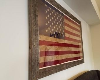 Rustic Barnwood Framed Tea-stain American Flag