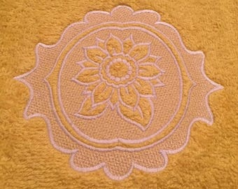 Beautiful Embossed Sunflower Hand Towel. Embroidered Unique Gift for Wedding Shower, House Warming, Birthday or keep it for yourself!