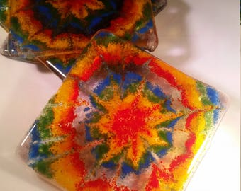 Tie Dye Fused Glass Coasters